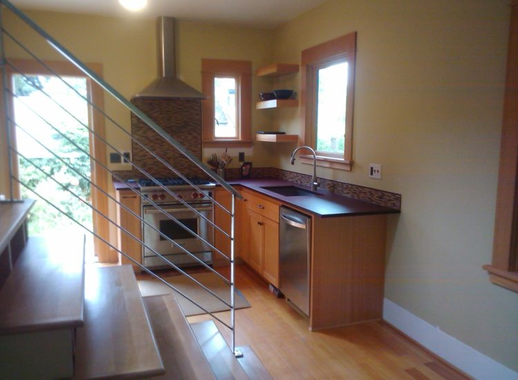 Kitchen remodel, Stairs, home renovation, sink, faucet, kitchen cabinets, Portland, Kaya Construction, Kaya General Contractors, Portland Remodeler